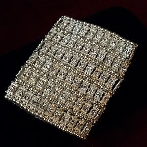 Silver cuff with crystals